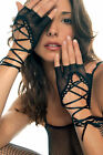 Black Hot Pink White or Red Fishnet Fingerless Lace Up Gloves Sexy Lingerie P413