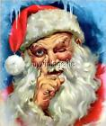 Vintage Santa Claus touching his nose Quilting Fabric Block