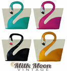 New PU Leather Flamingo Bird Handbag Bag Cream Black Pink Yellow Mint Green Blue