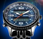 Black Steel CHRONO Date Men Luxury Watch Multifunction Alarm Luminous Stop Watch