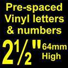 "QTY of: 9 x 2½""  64mm HIGH STICK-ON  SELF ADHESIVE VINYL LETTERS & NUMBERS"