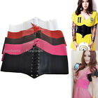 Women Elastic Faux Leather Wide Waist Waistband Belt Corset Cincher Armour Tie