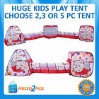 Childrens Toddlers Kids Pop Up Play Tent Tunnel Cubby House Indoor Playhouse
