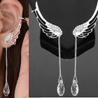 Angel's wing No Piercing Silver Wire Alloy  Ear Cuff / Stud with Rhinestone