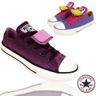 Kids Girls Junior Converse Shoes Lavender  Canvas Dual Tongue Sneakers School UK