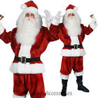 I7 Santa Claus Verlour 6pcs Christmas Xmas Clause Suit Mens Fancy Dress Costume