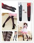 New Cute Sexy Lolita Girl Cross Bone Bow Sock Stocking Pink White Red to Choose