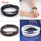 Chic Fashion PU Leather Braided Stainless Steel Magnetic 3 Clasp Bracelet Gift