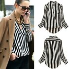 Womens Fashion Chiffon No button Stripes Lapel Asymmetric Blouse Tops T-shirt