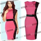 Scoop Neck Sleeveless Evening Casual Party Formal Lace Contrast Dresses 24681014