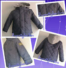 Baby Boys Coat Quilted Hoodie Navy with Grey Hood 6-12 Months Last One *Bargain*