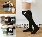 Womens Knee High Winter Legging Crochet Bow Lace Trim Knit Leg Warmer Boot Socks