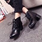 New Women's Girls Buckle Block Kitten Heel Pointy Toe England Thick Ankle Boots