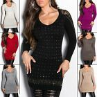 Women's Lace & Studs Knit Long Pullover Sweater - S/M (US 2-4-6)