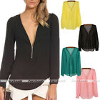 Sexy Women Zipper Deep V-neck Chiffon Long Sleeve Shirt Casual Tops Blouse Gift