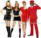PILOT AIR HOSTESS FLIGHT ATTENDANT MENS LADIES 1960's FANCY DRESS COSTUMES