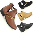 Womens Cut Out Chelsea Pixie Gold Chain Retro Ladies Ankle Boots Shoes Size 3-8