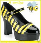 Womens Bumblebee SHOES DOLLY Platform Heels BUMBLE BEE Ladies Fancy Dress