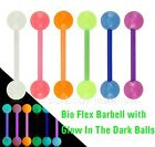 "1pc. 14G~5/8"" Bio Flex Barbell with Glow In The Dark Balls Tongue Ring Barbell"