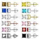 Mens Ladies Fancy Princess Cut Simulated Lab Diamond Solitaire Earrings Studs
