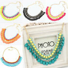 Womens Fashion Bib Necklace Crystal Resin Statement Chunky Choker Collar Party