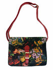 New Floral Satchel Handbag Black Red Patterned Small Retro