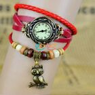 New Vintage Quartz Leather Pendant Weave Wrap OWL Wrist Watch Woman Xmas Gift