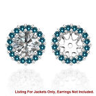 Blue SI2 Diamond Halo Solitaire Stud Bridal Earrings Jackets 14K White Gold