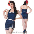 RKP41 Hell Bunny Anchored Playsuit Pin Up Rockabilly Jumpsuit Romper Nautical