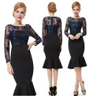Ever Pretty Elegant Sexy Lacey Long Sleeve Casual Black Cocktail Dress 08455
