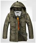 Men's Duck Down Hoodie Jacket Winter Long Parka Coat Overcoat Black Green CA