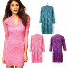 Women Fashion V-neck Long Sleeve Lace Slim Cocktail Clubbing Party Mini Dress