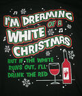 NEW MENS DREAMING OF A WHITE CHRISTMAS T SHIRT, Red Wine Holiday Tee