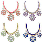New Fashion Women Crystal Pendant Chain Choker Chunky Statement Bib Necklace