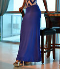 Solid Blue long maxi skirt full length super sexy boho banded style large