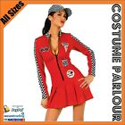 Womens Racing Girl Pitstop Sports Cars Indy Fancy Dress Costume Sizes 6 - 14
