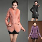 100% Real Sheep Leather With Fox Fur Trim Womens Down Coat Jacket Outwear Warm