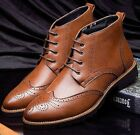 Mens casual lace up oxford Brogue chukka wingtip High top oxford  ankle Boots #