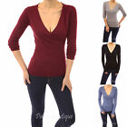 PattyBoutik V Neck Crossover Faux Wrap Long Sleeve Jumper Top
