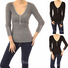 PattyBoutik Trim Y Neck Buttons Ribbed Pullover Jumper Top