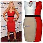 Women Celeb Sleeveless V-neck Fit Splice Slim Bodycon Cocktail Party Midi Dress