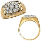 0.5 Carat White Diamond Fancy Cluster Mens Man Anniversary Ring 14K Yellow Gold