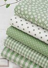 Apple green 100% Cotton Fabric BY HALF YARD Polka dot checked floral JC1/39+