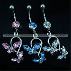 Butterfly Dangle Ball Crystal Button Barbell Bar Belly Navel Body Piercing Ring