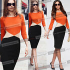 Women Spring Colorblock Business Casual Work Party Tunic Pencil Wiggle Dress 156