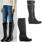 WOMENS LADIES KNEE CALF HIGH MID FLAT HEEL BIKER ANKLE WEDGE BOOTS SIZE SHOES