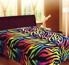 Rainbow Zebra Soft Fleece Blanket Queen Full Animal Print Microfiber Throw Cover image