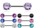 Surgical Steel Double Front Facing Round CZ Nipple Bar - Choose Colour