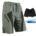 US STOCK Men's Loose Fit Bike Bicycle Cycling Shorts Padded Pants Fast-dry Top