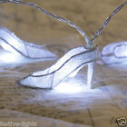 WHITE 10 LED BATTERY FAIRY STRING LIGHT NOVELTY WEDDING HIGH HEEL STILETTO SHOES